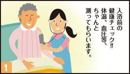 1.入浴前の健康チェック!!体温、血圧等、ちゃんと測ってもらいます。